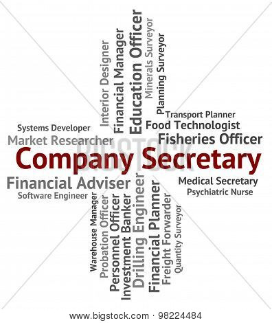 Company Secretary Shows Clerical Assistant And Administrator