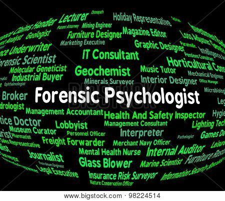 Forensic Psychologist Shows Occupations Clinician And Word