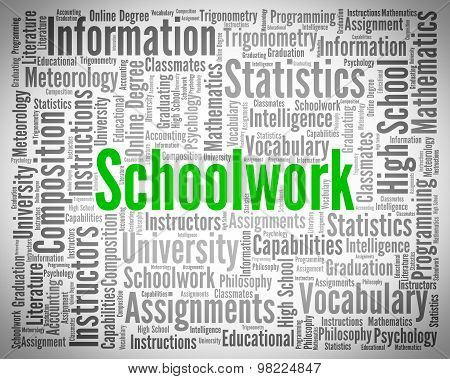 Schoolwork Word Indicates Undertaking Tasks And Exercise