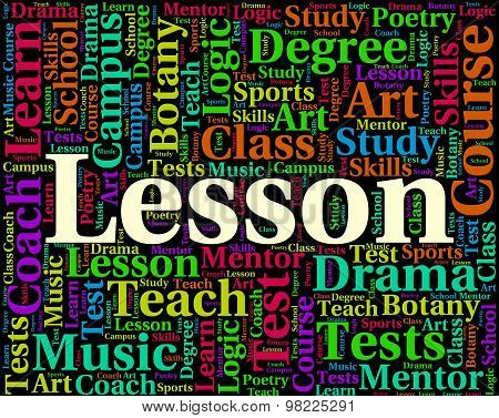 Lesson Word Represents Class Lessons And Sessions