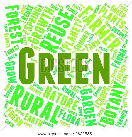 Green Word Means Earth Friendly And Conservation