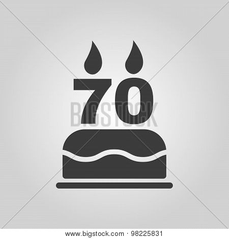 The birthday cake with candles in the form of number 70 icon. Birthday symbol. Flat