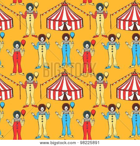 Sketch Circus Tent And Clown