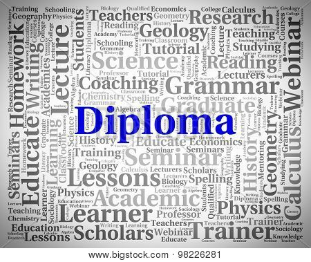 Diploma Word Represents Master's Degree And Text