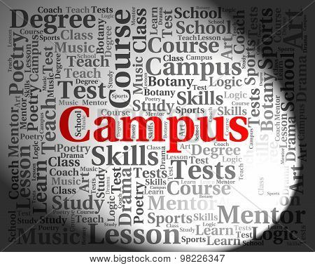 Campus Word Indicates Text University And Institute
