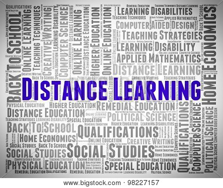 Distance Learning Words Represents Study Text And Education