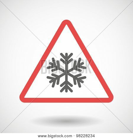 Warning Signal With A Snow Flake