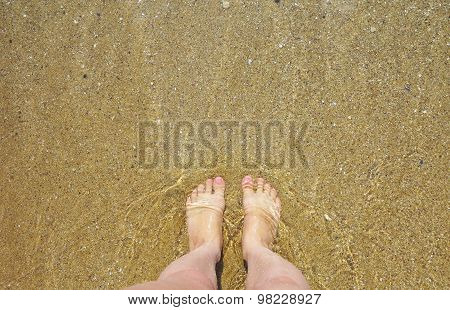 Female Legs Against Water And Sand On Beach