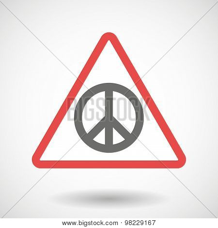 Warning Signal With A Peace Sign