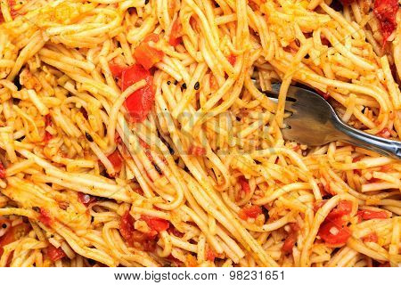 Closeup of Hakka Noodles with fork prepared in Calcutta, India