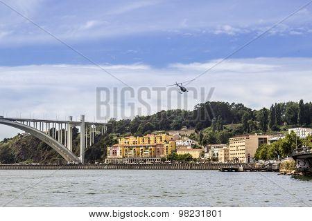 Panoramic Fom Douro River Tour Boat, Porto Cityscape, On A Summer Day