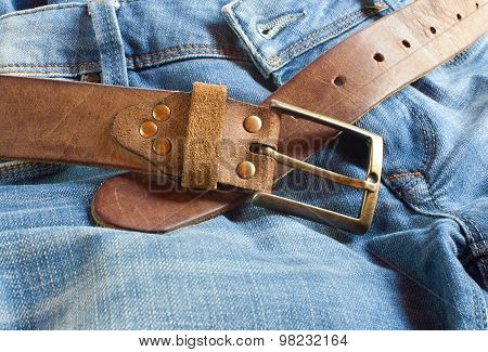 Leather Brown Belt With Jeans