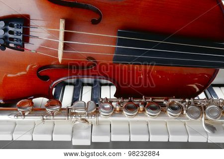Musical instruments close up