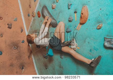 Little Sporty Girl Climbing Indoor