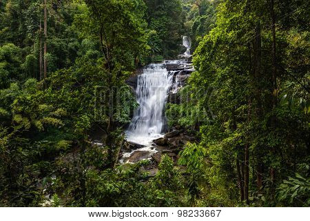 Tropical Rainforest Landscape With Beautiful Waterfall