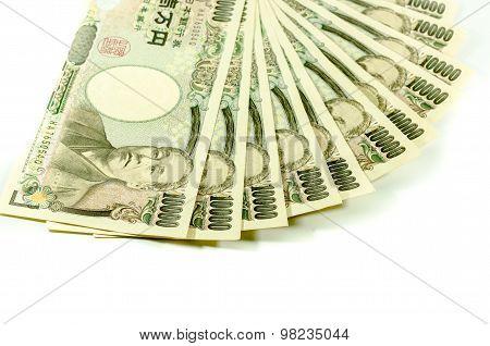 Japanese Yen For Commercial On White Background