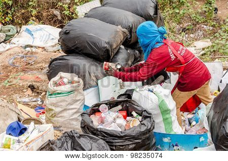 Nakonpanom, Thailand - April 22: Municipal Waste Disposal By Open Dump Procese
