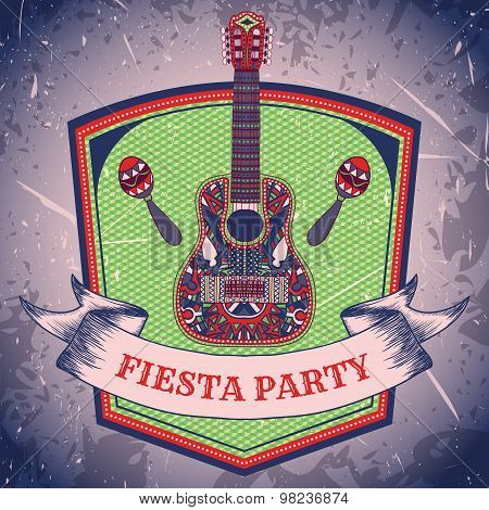 Mexican Fiesta Party label with maracas and mexican guitar .Hand drawn vector illustration poster wi