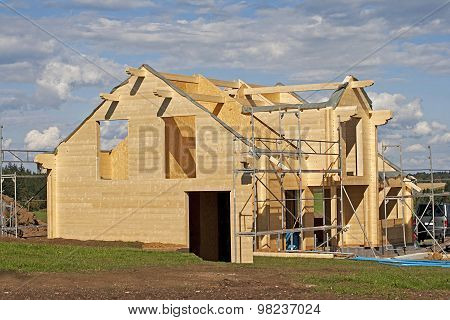 wooden house under construction