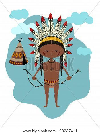 Native Indian with Tant - Illustration - Eps 10