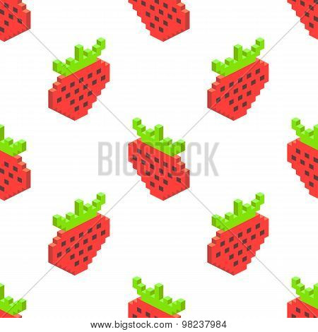 Seamless Background Of Isometric Strawberry. Vector Illustration In Pixel-art Style