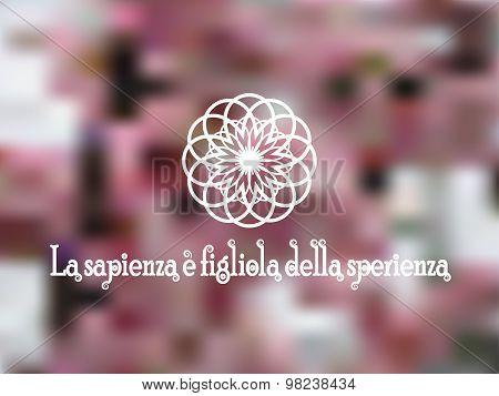 Stylization flower lotus on pink blurred background