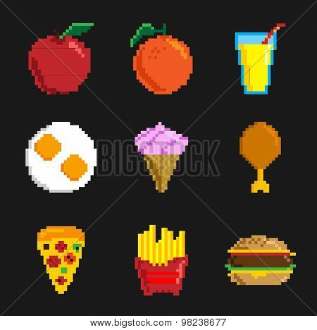 Pixel Icon Set - 90's set - Pixel - Pixel Foods - Illustration - Eps 10