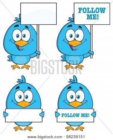 Blue Bird Cartoon Character 6. Collection Set