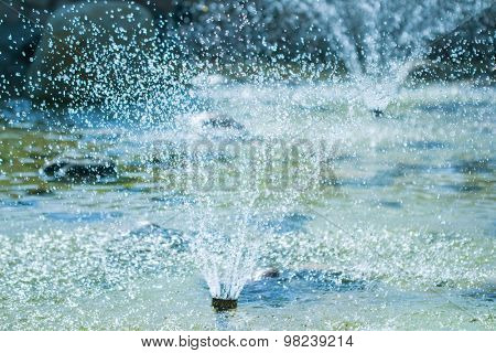 The fountains gushing sparkling water