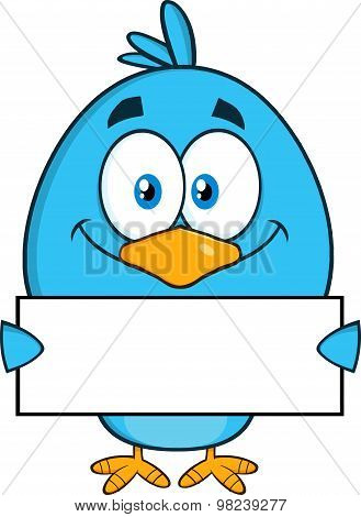 Smiling Blue Bird Character Holding A Blank Sign