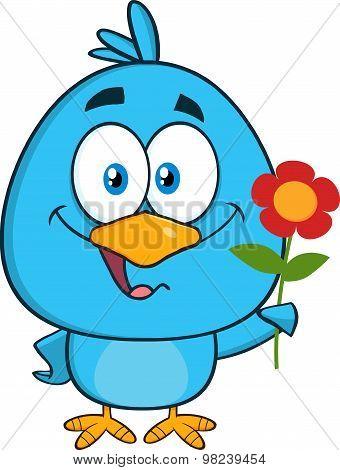 Blue Bird Cartoon Character With A Red Daisy Flower