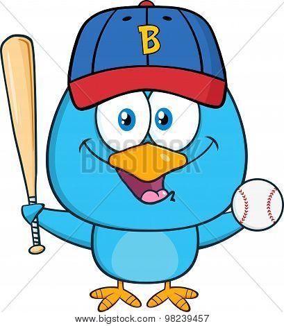 Blue Bird Character Swinging A Baseball Bat And Ball