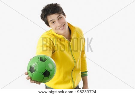 Young Man Offering A Football Ball.