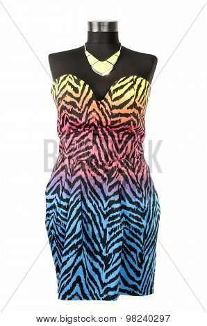 Colorful Zebra Pattern Dress With Matching Necklace On A Mannequin.