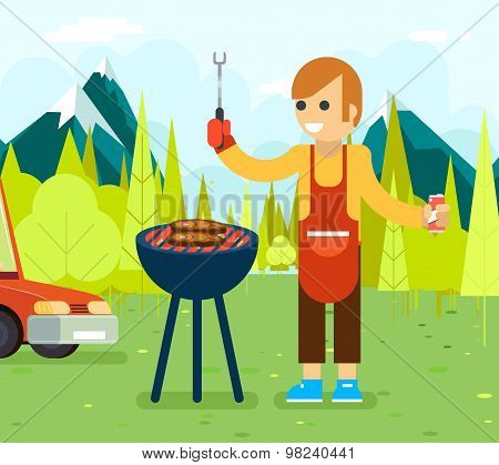 Barbecue cook background nature forest mountains vacation car vector illustration