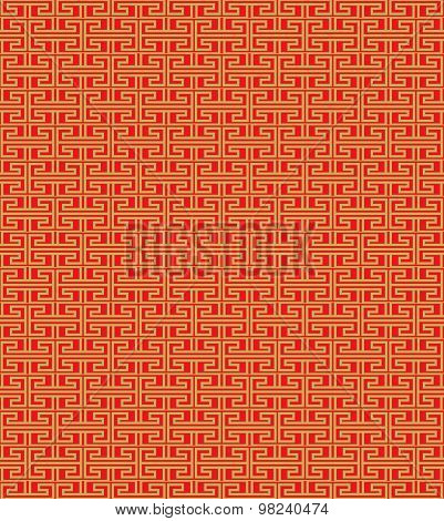 Golden seamless Vintage Chinese window tracery repeat line pattern background.