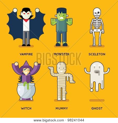 Halloween Characters Icons Set Stylish Party Roles Background Flat Design Greeting Card Template Vec