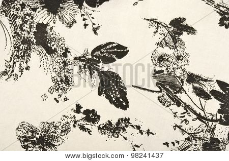 Graphic Floral Pattern On Fabric.