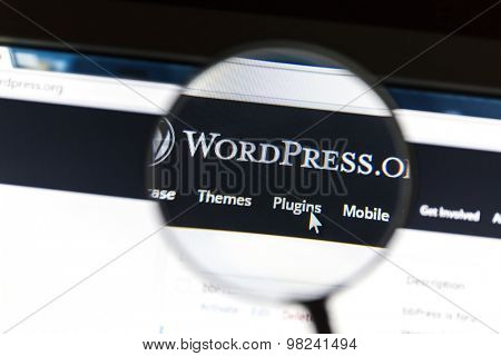 Ostersund, Sweden - August 9, 2015: Close up of Wordpress website under a magnifying glass. WordPress is a free and open source blogging tool.