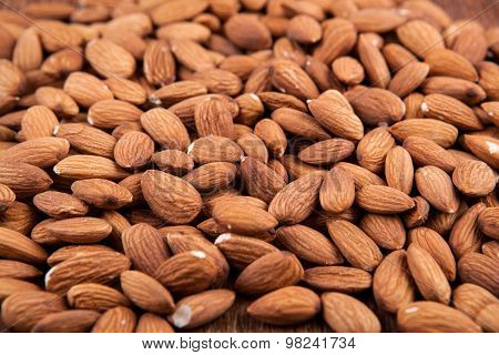 Grain Almonds On Close Up