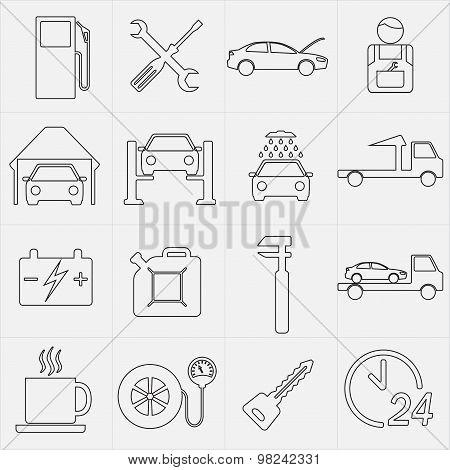 Car service maintenance icon set. Vector illustration.