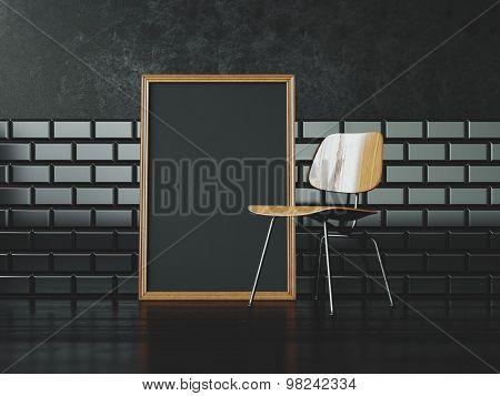 Black poster frame near the chair. 3d rendering