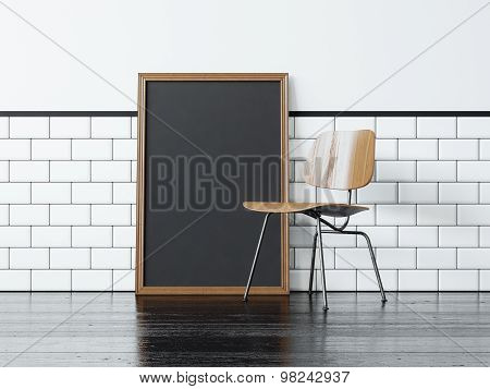 Black poster and the chair. 3d rendering
