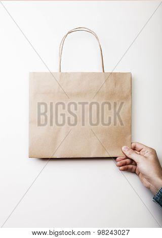 Mockup of craft shopping bag.