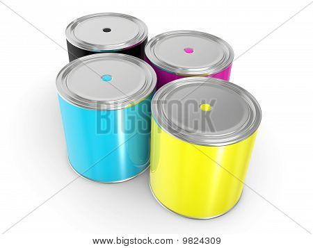 Cmyk - Buckets With A Paint