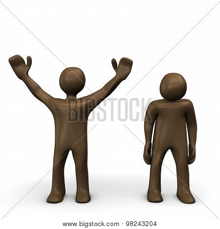 Winner And Looser, Brown Figurines, White Background