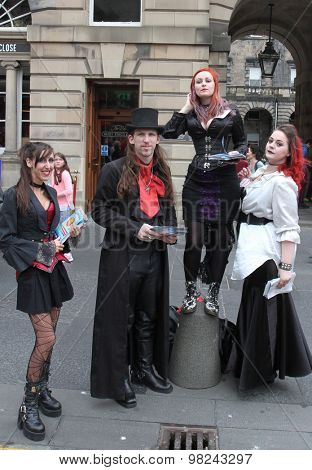 EDINBURGH - AUGUST 8: Members of Dreamcatcher Horror Theatre publicize their show A History of Violence during Edinburgh Fringe Festival on August 8th, 2015 in Edinburgh, Scotland
