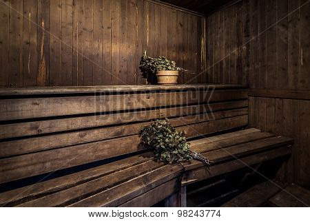 Oak Brooms Inside Of A Bath House