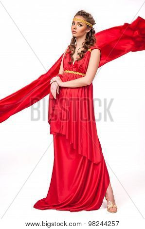 Beautiful Young Female Wearing Red Dress Antique Style Isolated On White