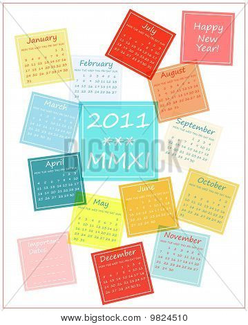 2011 colorful calendar